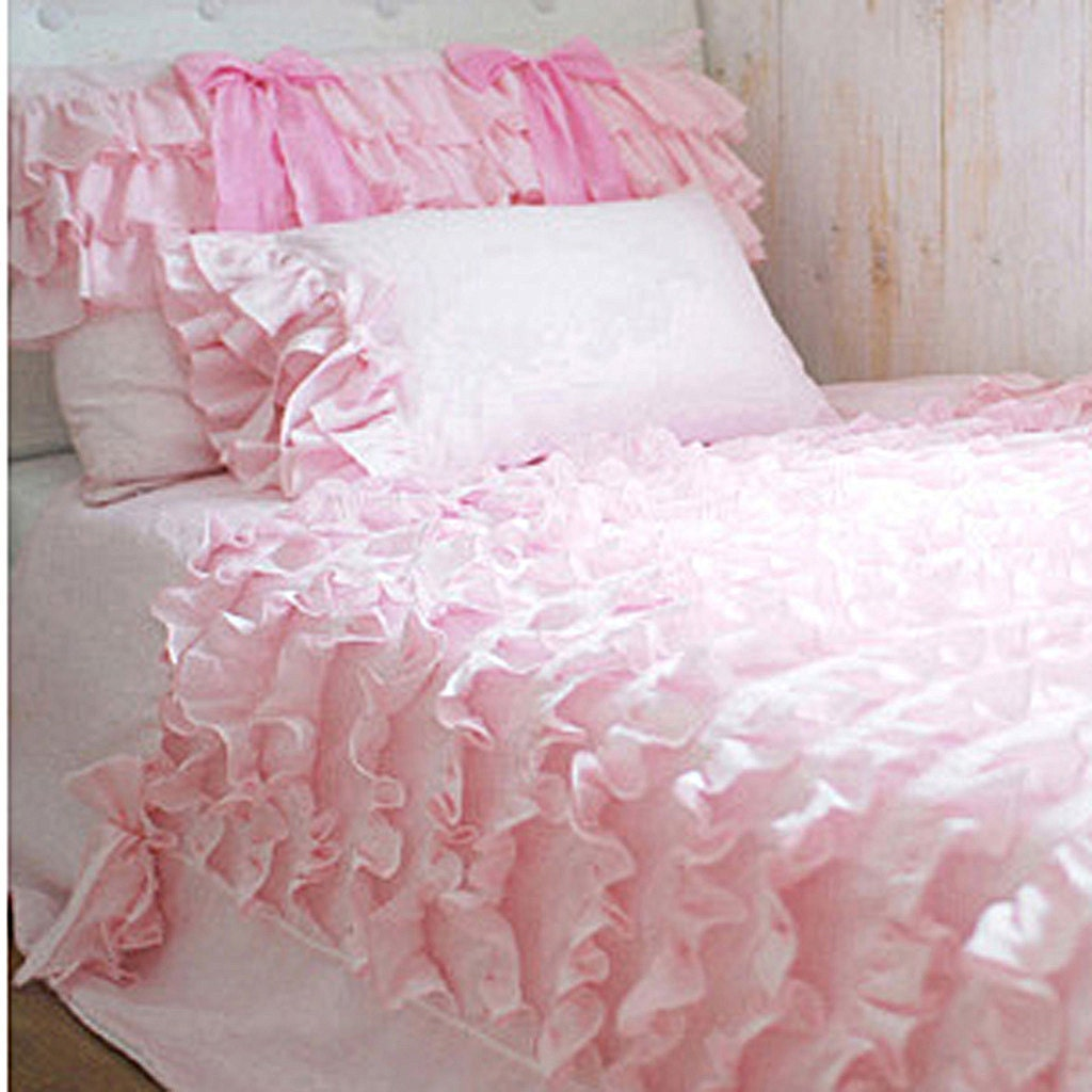 twin pink waterfall ruffled bows bedding setduvet by lovelydecor. Black Bedroom Furniture Sets. Home Design Ideas
