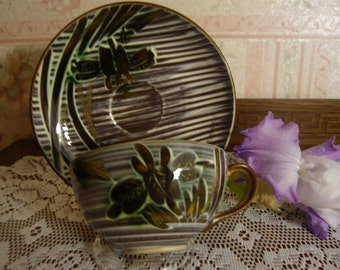 Vintage UCAGCO Occupied Japan Hand Crafted  IRIS Cup and Saucer 1947-52