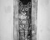 Tabby Cat Original Art, Printmaking , Handpulled Woodblock Cat in City, Huge Life Sized Tabby Cat, Artist
