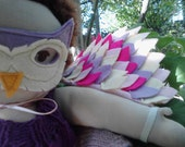 Waldorf Doll Clothes - Owl Costume - Mask and Wings - Wool Blend Felt