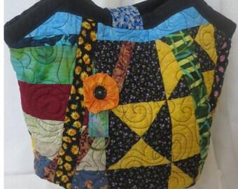 Quilted Weekender Bag, Bucket Bag, Hobo Bag, Shoulder Bag, Beach Bag, Quilted Bag, Handmade Purse, Contemporary Quilted Bag, Hippie Bag