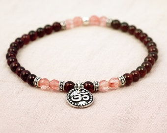 Little Doña bracelet - garnet, facetted cherry quartz  and silver plated OHM charm
