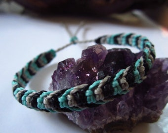 Turquoise Black & Grey Friendship/Surf Bracelet Macrame Handmade