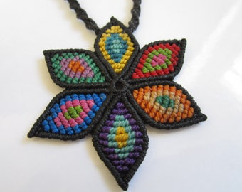 Multicolor Macrame Flower Pendant Creation