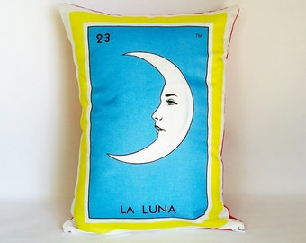 CLEARANCE: Luna (moon) Mexican Loteria Pillow Cover - Day of the Dead pillow, Dia de los Muertos, Mexican Loteria pillow cover