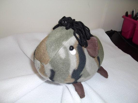 large camo guinea pig cloth doll stuffed animal plush handmade. Black Bedroom Furniture Sets. Home Design Ideas