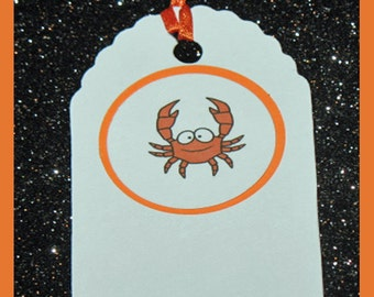 Crab Gift Tags - Crab Party Gift Tags- Crab Supplies Gift Tags- set of 10