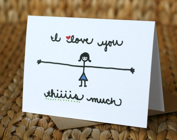 Father's Day Card - I Love You Thiiiis Much (Girl) - I Love You Card