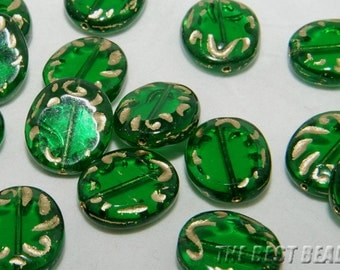 10pcs Green with Gold Flat Oval Czech Glass Table Cut Beads 17x14mm