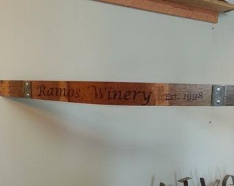 Custom Engraved Woodburned Wine Barrel Stave