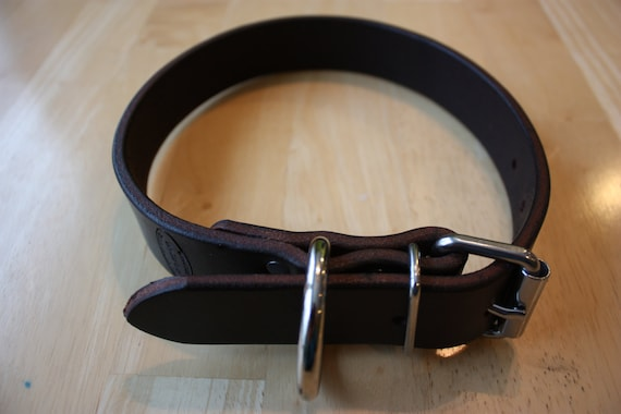Amish Made Leather Pet Collar for Medium/Large Dog, ALL Stainless Steel Hardware and Heavy, Top Grain, Cowhide Belt Leather