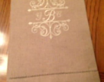 Monogrammed Linen Towel- Scroll Border Accent