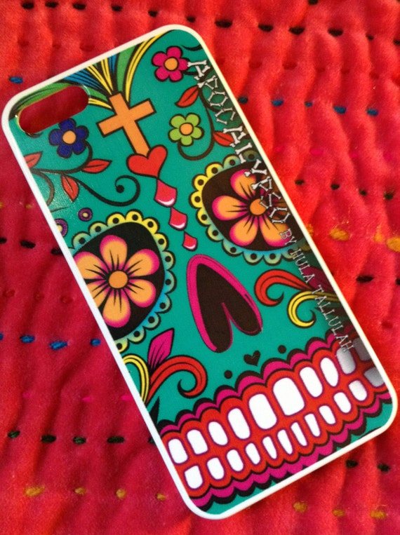iPhone 5 hard case Apocalypso Sugar Skull TEAL