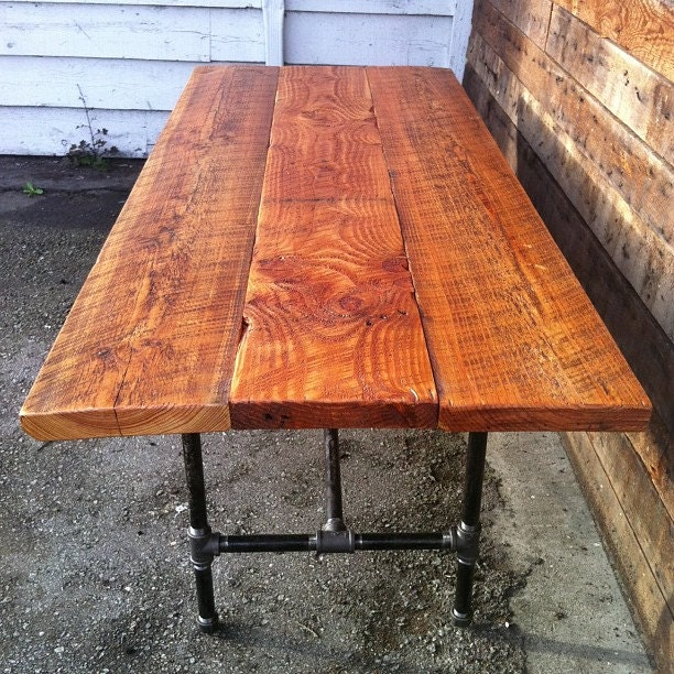 Barn wood dining table with cast iron legs for Wood table iron legs