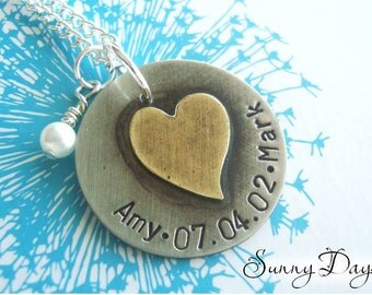 Hand Stamped Couple's Necklace with Two Names and Date - Anniversary - Wife - Twins