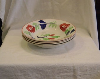 "Late 1800's 4 Stickspatter Bowls Made In Belgium 9.75"" In Diameter And 1.25"" Deep"