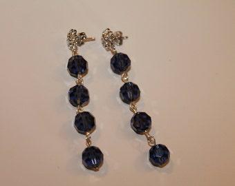 Smoky Blue Crystal Earrings