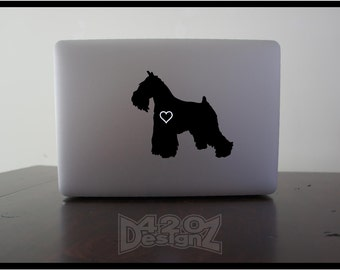 Miniature Schnauzer  - Macbook Air, Macbook Pro,  Macbook decals, sticker ,Vinyl Mac decals ,Apple Mac Decal, Laptop, iPad