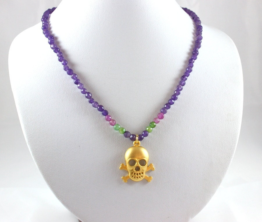 Genuine Jade Beads: ON SALE Skull Necklace Genuine Amethyst And Jade Beads