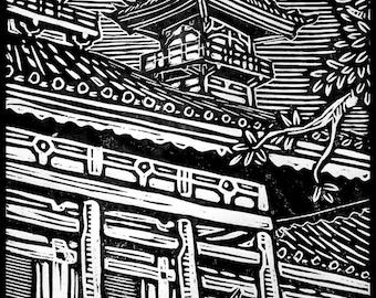 Wolverine Woodblock Print