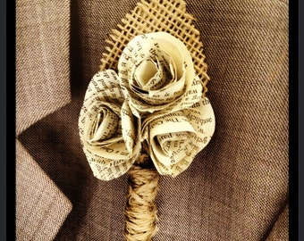 Rustic Book Page Boutonniere