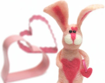 Sweetheart the Pink Needle Felted Bunny with Pink Hearts --- Needle Felted Rabbit, Soft plush stuffed toy Valentine's Day gift