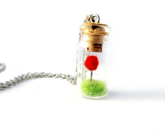 Terrarium Bottle Necklace, Red  Pom Pom Tree on Green Grass Needle Felted, Movie Lovers Gift