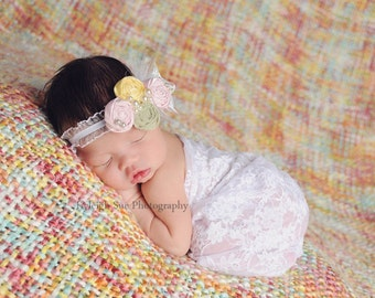 Baby Headband, Kids Accessory, Rosettes Baby Headband, Infant Headband, Shabby Chic Headpiece, Girls Hair Accessory, Newborn Accessory