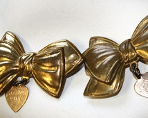 Two 1930s Atlantic City Souvenir Bow Pins with Rolled Gold Hearts