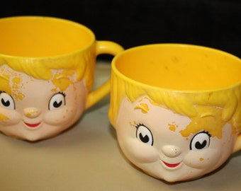 Two  1970s Campbell's Soup plastic childs cups or mugs