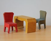 Vintage 70s Miniature Furniture - 7 piece set in stained timber