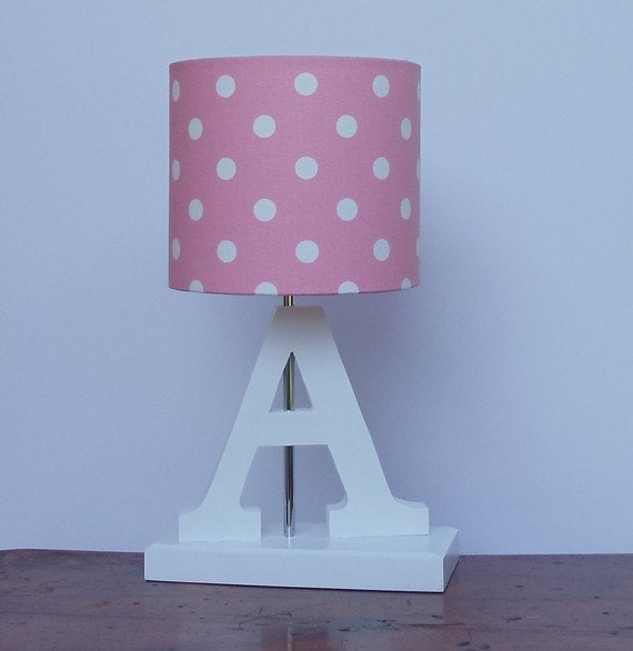 Handmade Small Pink With White Polka Dot Drum Lamp Shade