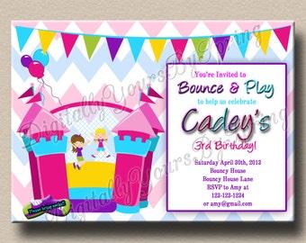 Printable Bouncy House Birthday Party Invitation - You Print DIGITAL FILE