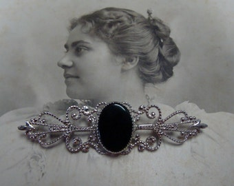 Victorian style Sterling Silver Onyx Brooch