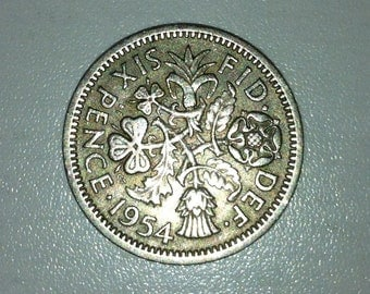 1954 Wedding Sixpence Coin - Lucky Wedding Sixpence for the Bride