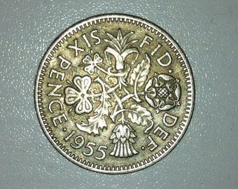 1955 Wedding Sixpence Coin - Lucky Wedding Sixpence for the Bride