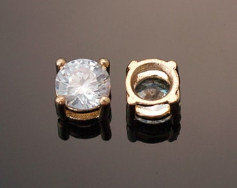 3015011 / 16k Gold Plated Brass Framed Cubic Zirconia Connector 6mm / 0.7g / 2pcs