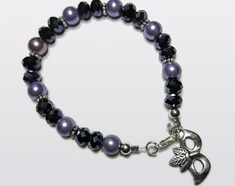 Fifty Shades inspired Grey Glass pearls & facets Mask Bracelet.