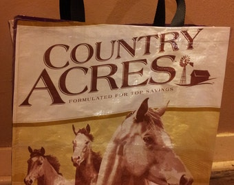 Recycled Feed Bag Tote, reusable tote bag, grocery tote, recycled shopping bags, reusable grocery bag, recycled tote Country Acres Horses