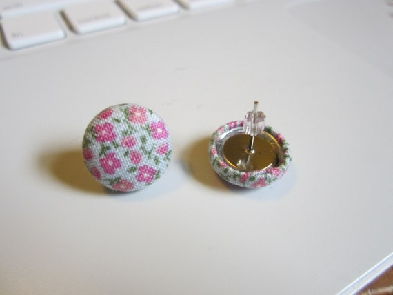 Fabric Covered Flower Earrings
