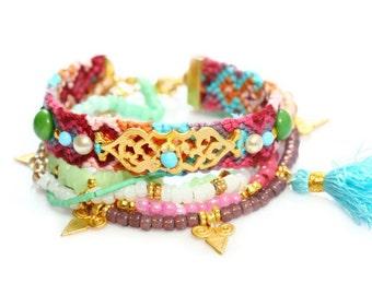 Friendship Bracelet,Swarovski,Christmas Gift,Tassel Charm,Quartz,Bohemian,Boho Chic,Hippie,Multiple Strands,Beaded Bracelet Set Of 6