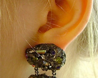 MOONROCK OPTICA 1980's Melrose Chic Pin and Clip Earring Set