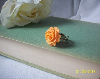 Rose ring,Jewelry,Orange flower ring,Unique jewelry