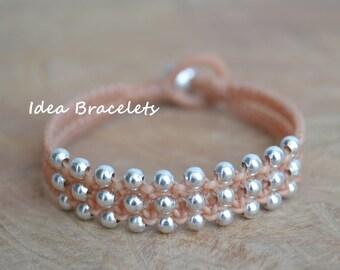Simple Cute Beige Pastel Sweet Silver Double Layers Bracelet