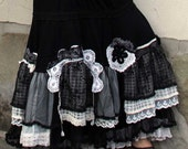 Old lace black and white crazy skirt - jamfashion