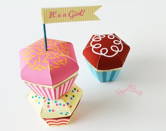 Cupcake Favor Box, Gift Box, Baking Party, Cupcake Party, Sweet Shoppe Favor, Paper Cupcakes, Paper Toy, Birthday Cupcake, Candy Box, Treat