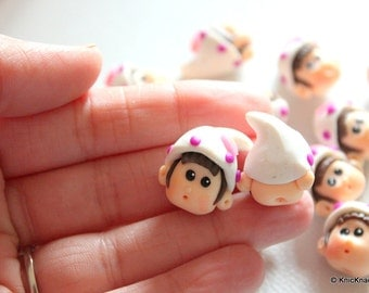 2 x Polymer Fimo Clay Dolls Head Beads with White and Purple Cap