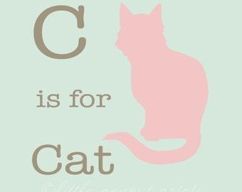 "8x10 or 11x14 ""C is for Cat"" Nursery Print | Animal Rom Decor"