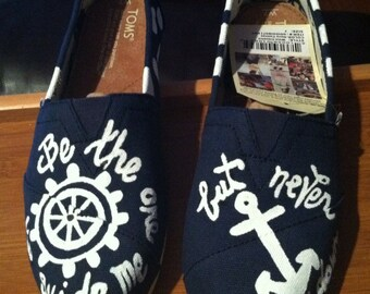 Custom Handpainted TOMS anchor toms nautical boat wheel