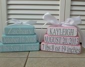 Baby Name Birth Announcement  Wood Stacked Blocks -CUSTOM ORDER